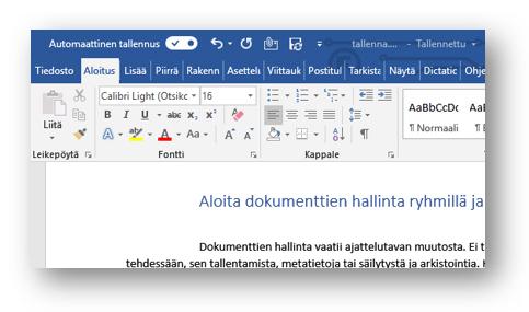 Office 365 tallenna automaattisesti